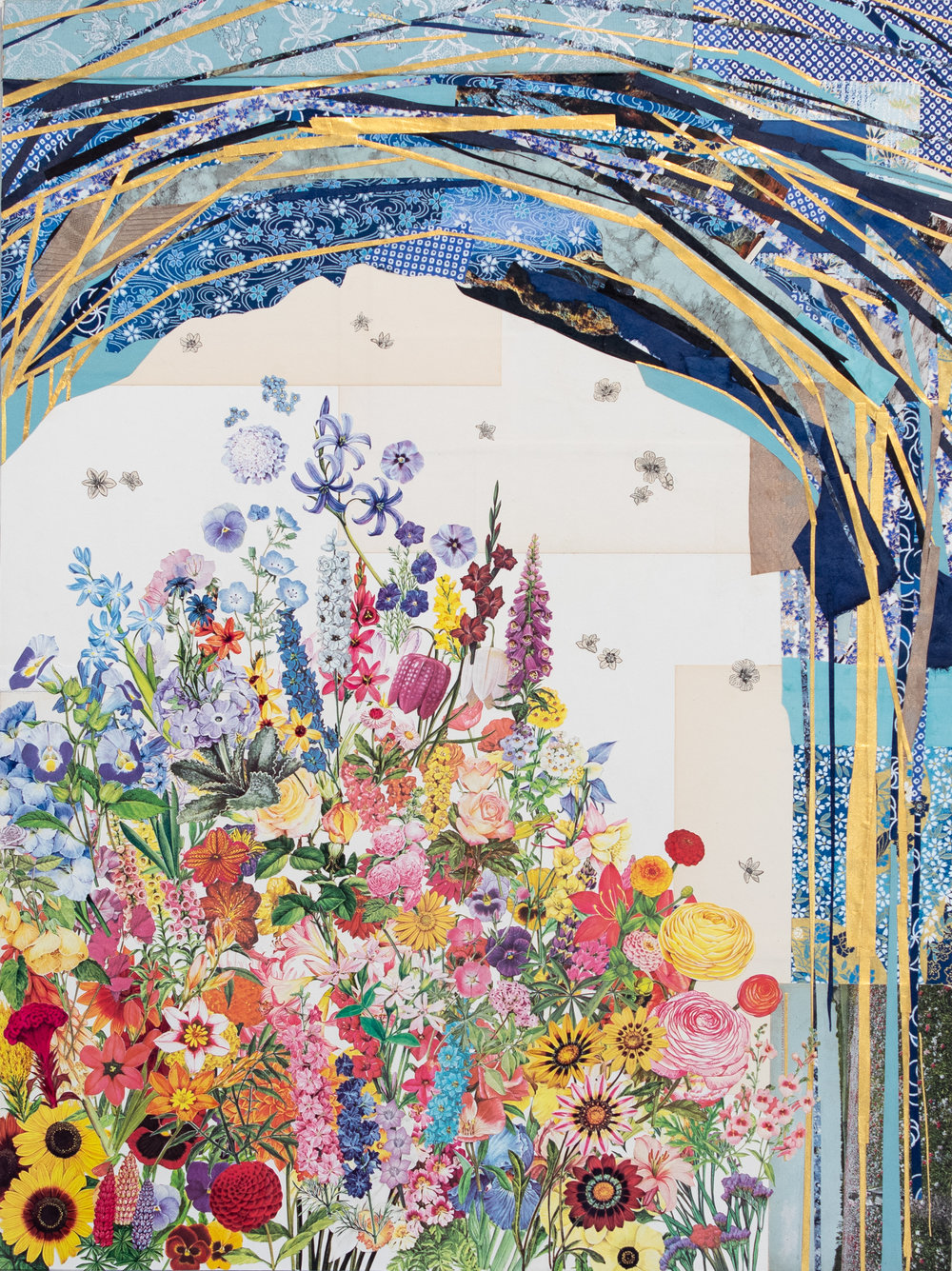 Honeymoon Garden   Collage on masonite panel, 24x20 in.  Private collection - CA