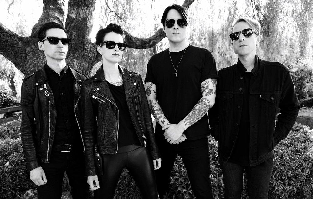 (left to right)  Jahmeel Russell: bass/vocals  Shannon Hemmett: synth/vocals  Jason Corbett: vocals/guitar  Adam Fink: drums  Photo by Kira Clavell