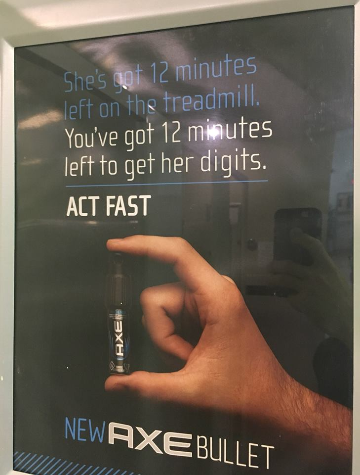 The ad reads: - She's got 12 minutes left on the treadmill. You've got 12 minutes left to get her digits. ACT FAST.