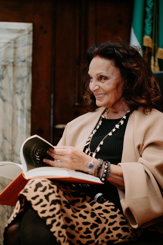 Diane von Furstenberg, Alain Elkann Interviews Book Launch NYC 2017
