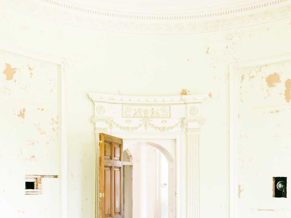The beautiful old architecture of the interior of the Woodlands Mansion in Philadelphia from our whimsical elopement wedding shoot.