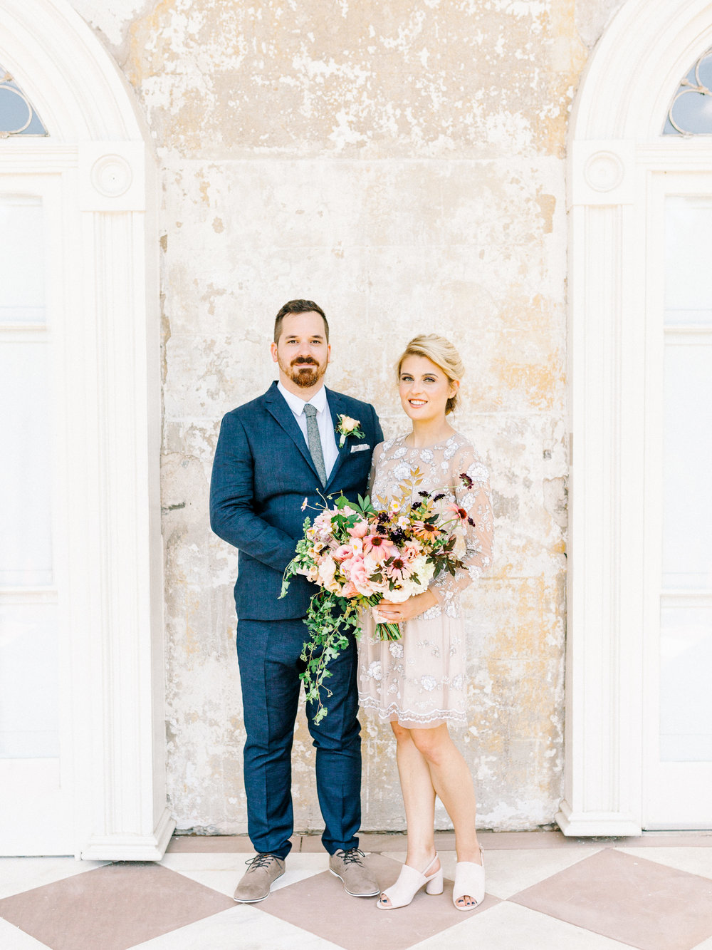 Emily and Jake looking fresh in their attire, including this blush beaded BHLDN gown, for our romantic and whimsical elopement wedding inspiration shoot at the Woodlands Mansion in Philadelphia.