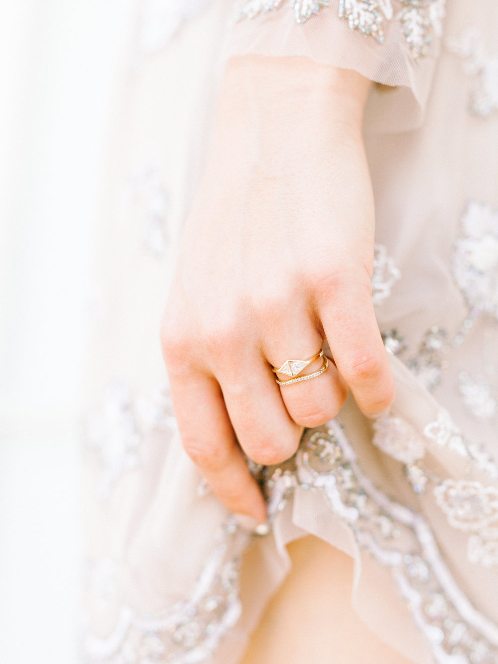 These delicate Bario Neal wedding rings gave a modern touch to our whimsical elopement wedding inspiration shoot at the Woodlands Mansion in Philadelphia.