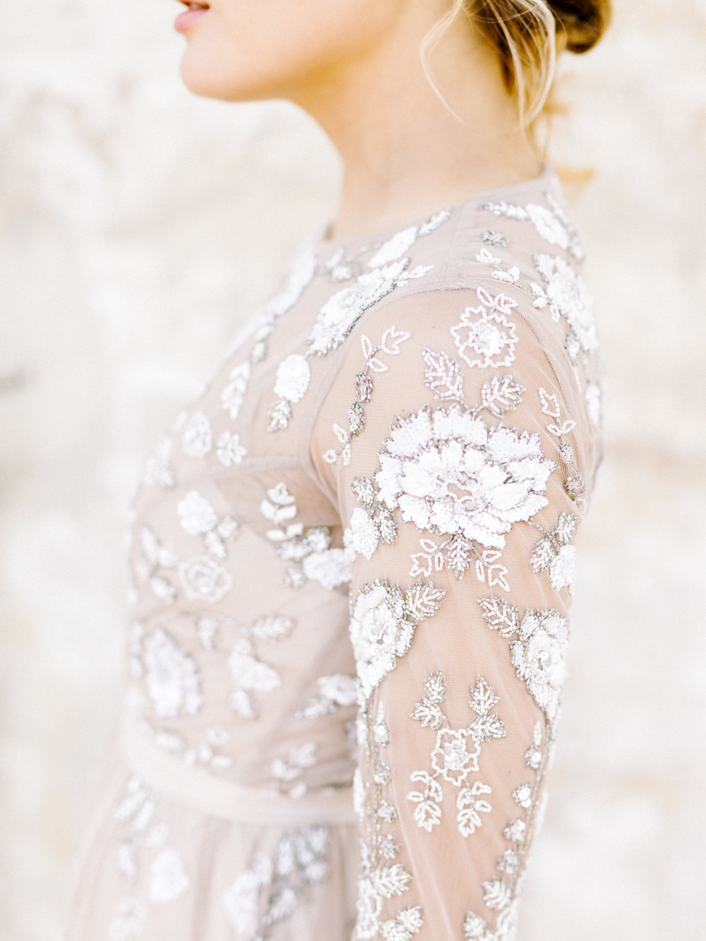 We love the beaded applique look from this summer blush BHLDN wedding dress from our whimsical elopement wedding inspiration shoot at the Woodlands Mansion in Philadelphia.