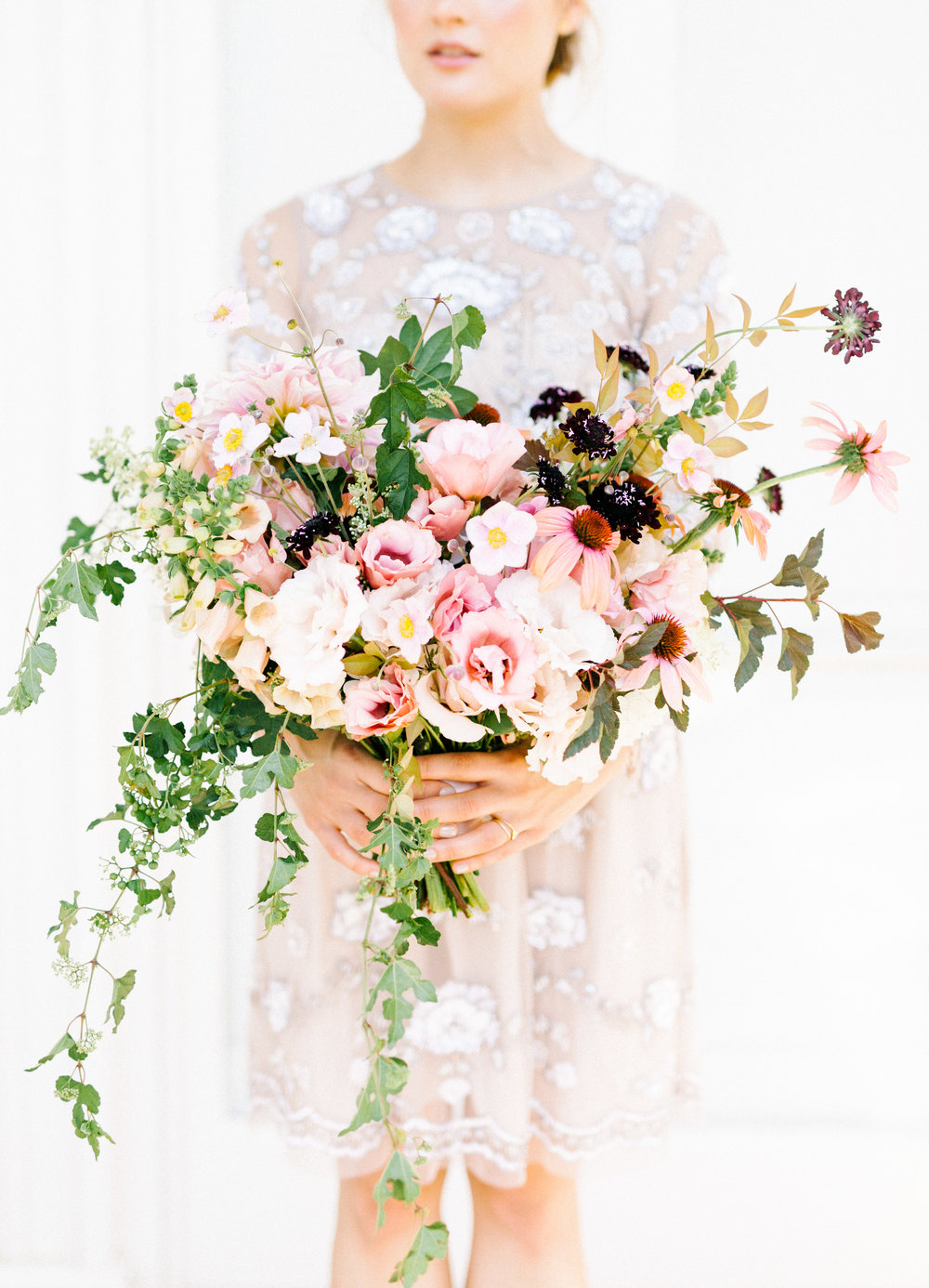 This whimsical bouquet was so wild and romantic with soft and bright tones, it fit in perfect with our whimsical elopement wedding inspiration shoot at the Woodlands Mansion in Philadelphia.