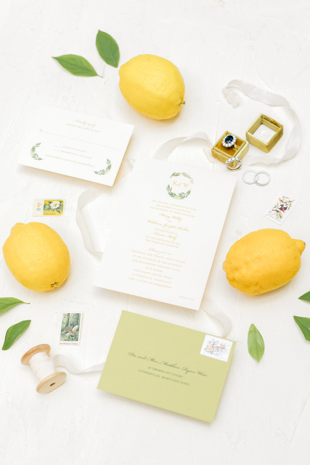 Summer Italian wedding details, bright with lemons