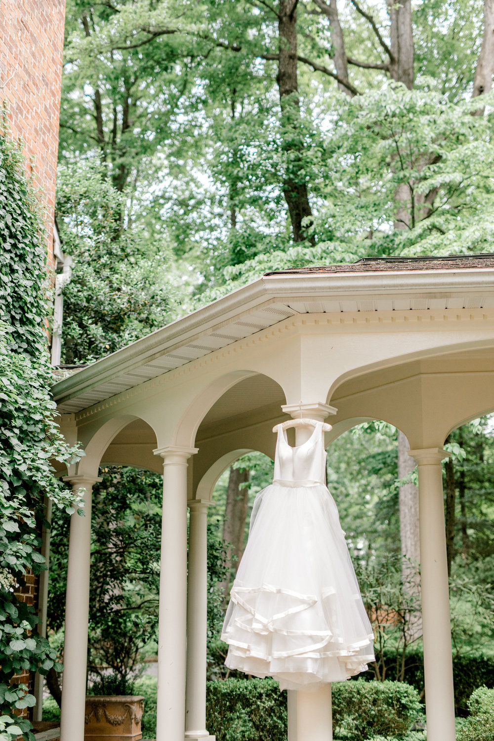 Flirty flowing white dress from our Italian themed summer wedding at Baltimore Country Club.