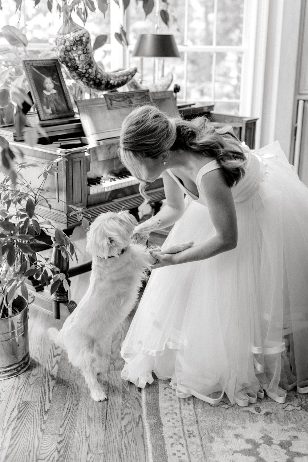 A sweet moment between the bride and her puppy dog. A black and white image of this bride gettin ready for her Baltimore Country Club wedding.