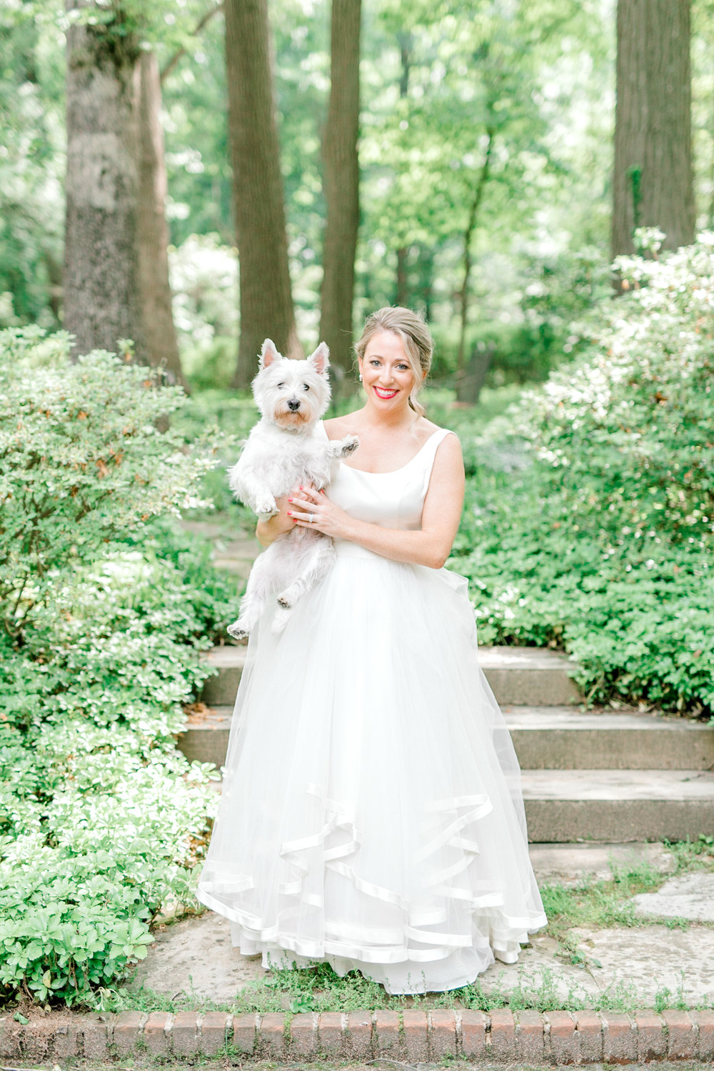 Kerry looking all bright and smiley with her sweet Scottie, Chester the morning of her Italian themed wedding at the Baltimore Country Club.