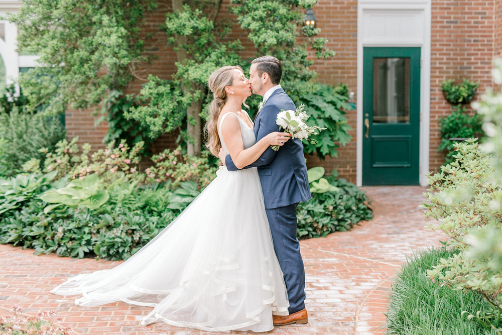 A sweet moment between Kerry and Bill just after their first look. There's something so sweet about this bright corner at the Baltimore Country Club, it worked so well with their Italian themed wedding day.