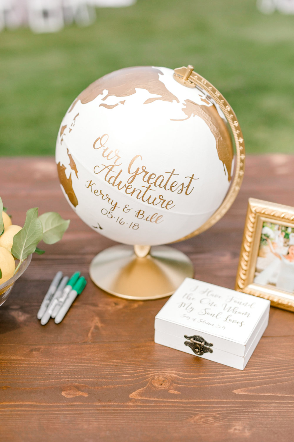 Creative white and gold globe guest book from an Italian themed wedding at the Baltimore Country Club.