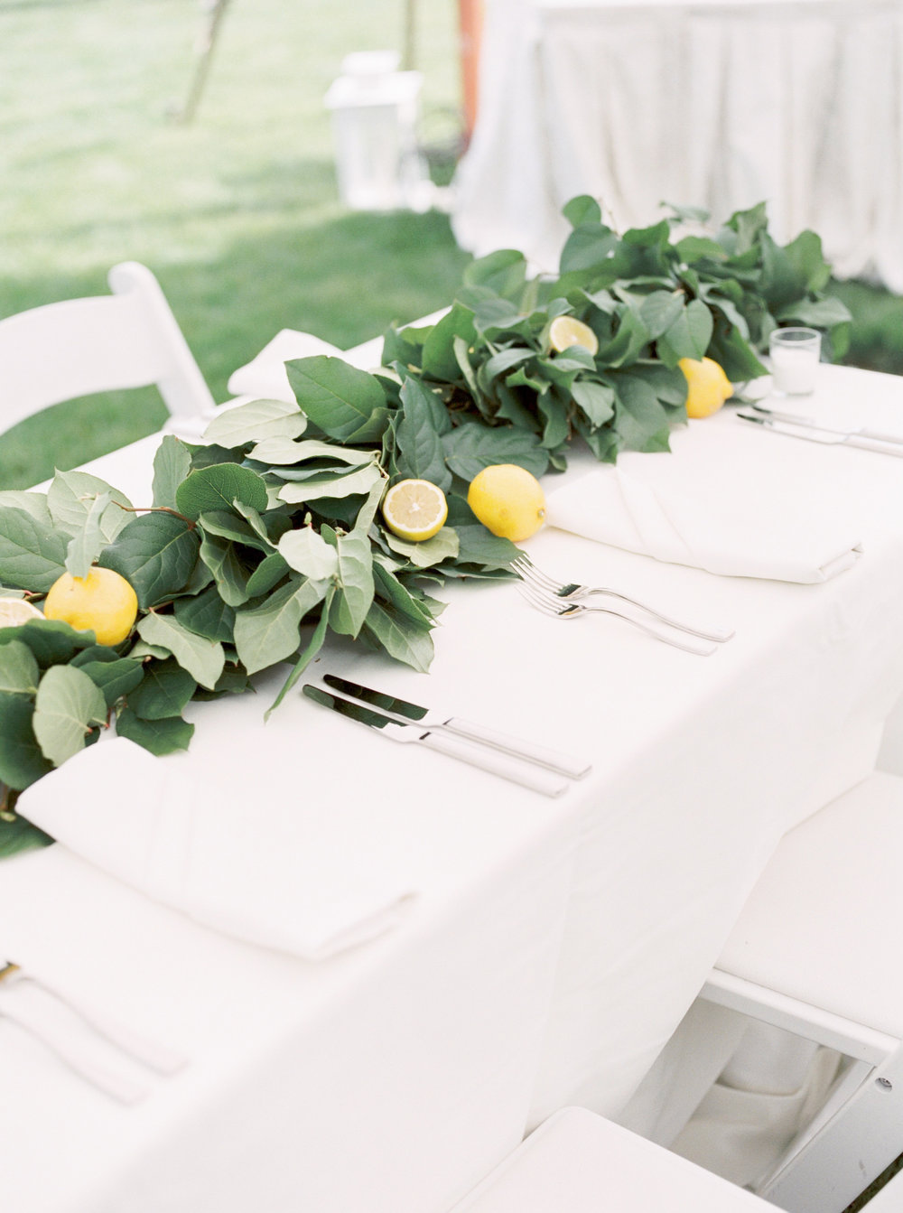 Italian summer wedding reception inspiration at the Baltimore Country Club with lemons and draping greens.