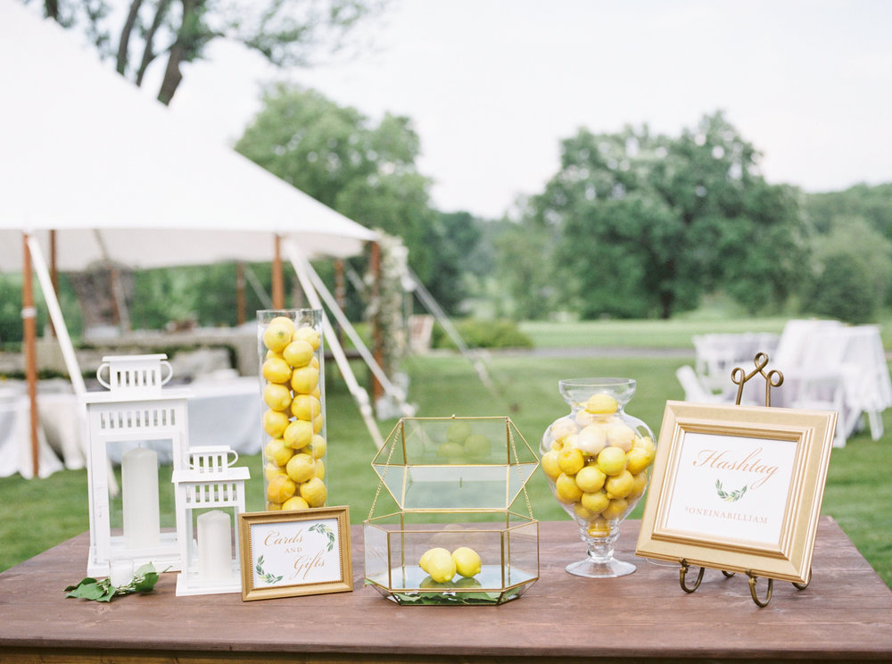 All the bright details from Kerry and Bill's Italian themed wedding day at the Baltimore Country Club. The gold accents with the yellow lemons are so fun and creative.