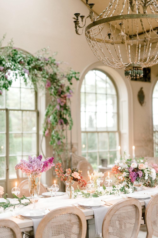 haley-richter-photography-jardin-de-buis-wedding-photos-greenhouse-wedding-bhldn-gown-lilac-wedding-bouquet-beaded-wedding-gown-new-jersey-weddings-garden-wedding-reception-tablescape