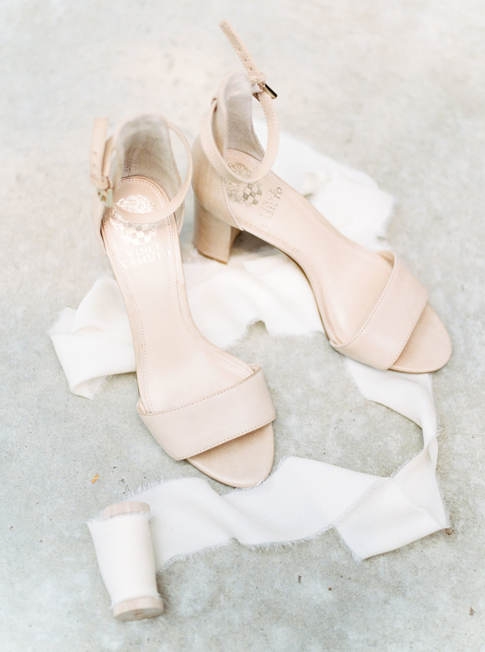 Classy nude peep-toe wedding heels with block heel from Vince Camuto for a summer wedding at Hotel du Village.