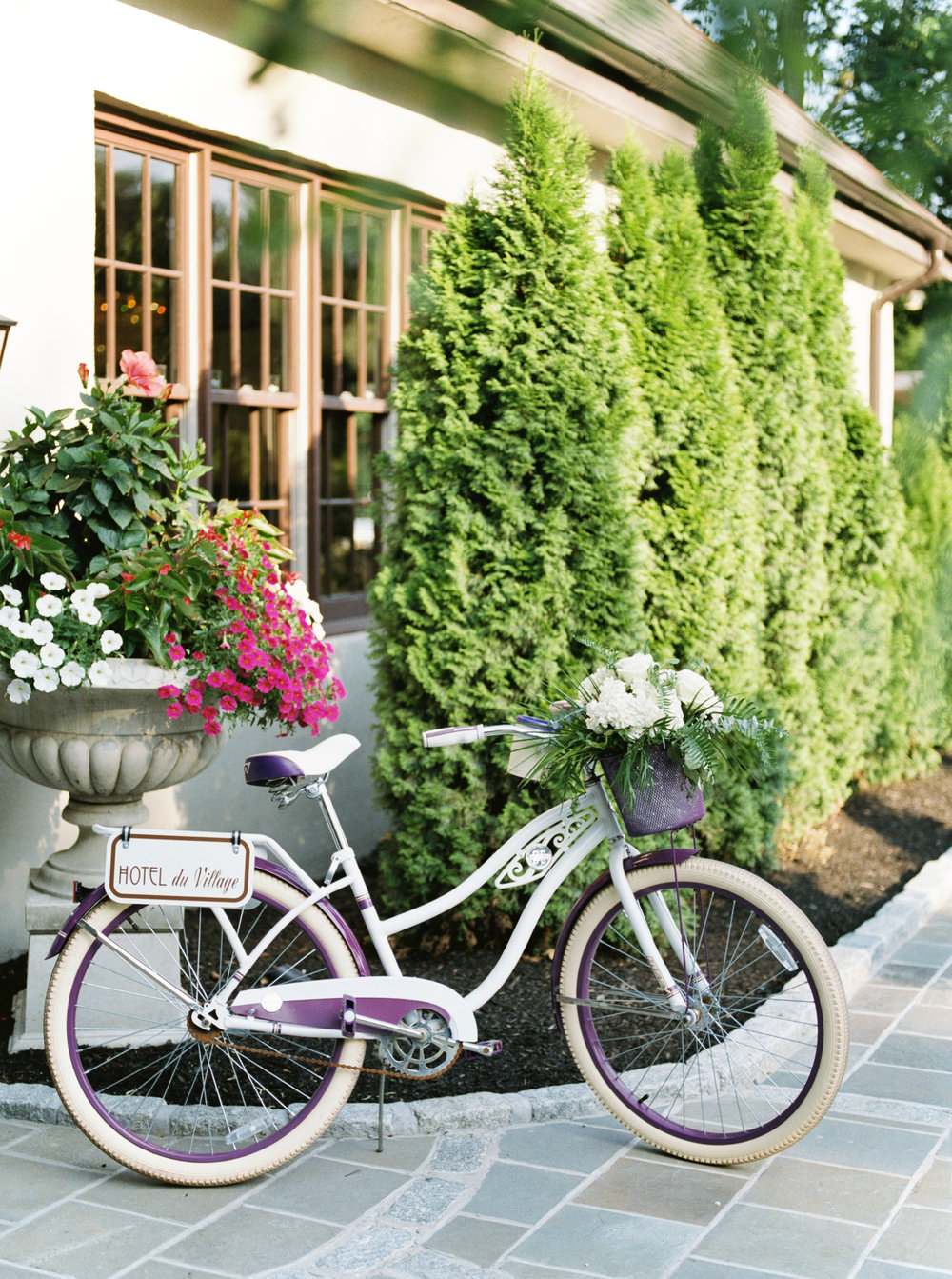 We love the bikes provided for couples on their wedding day at Hotel du Village.