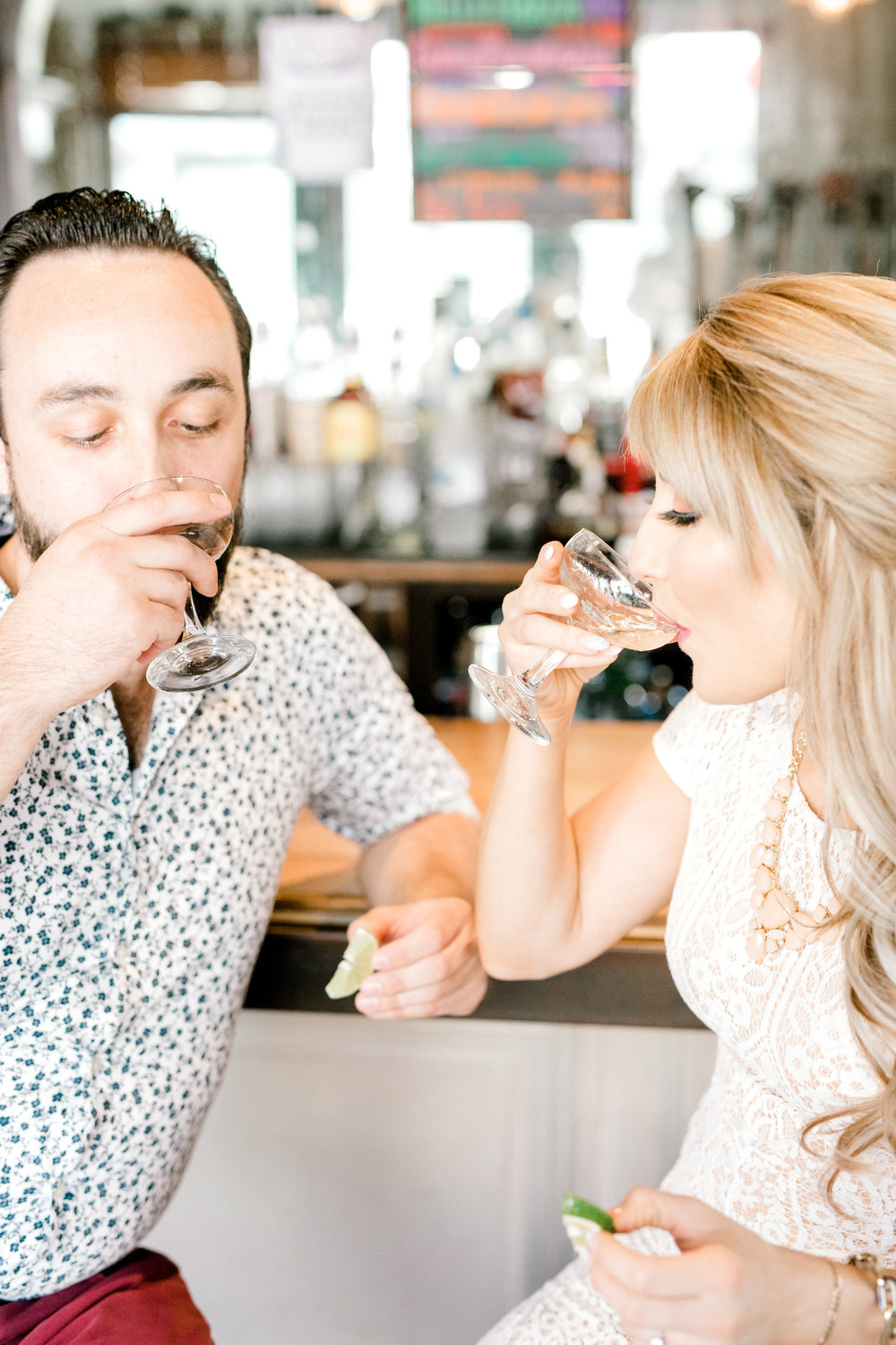 Tequila shots at your engagement session are a great way to loosen up and create some fun images of the two of you. Nikki and Dale took theirs at the Revolution House in Old City, Philadelphia.