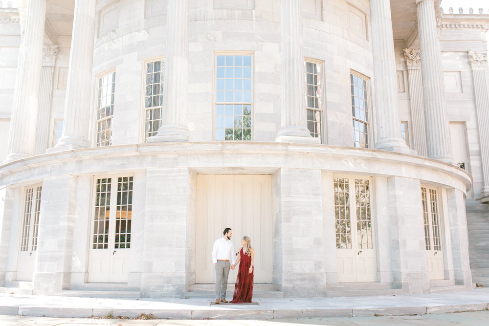 We simply adore the classic look of the marble architecture of the Merchant's Exchange building. It's perfect at all times of year, like this look for Nikki and Dale's bright and romantic fall engagement session in Old City, Philadelphia.