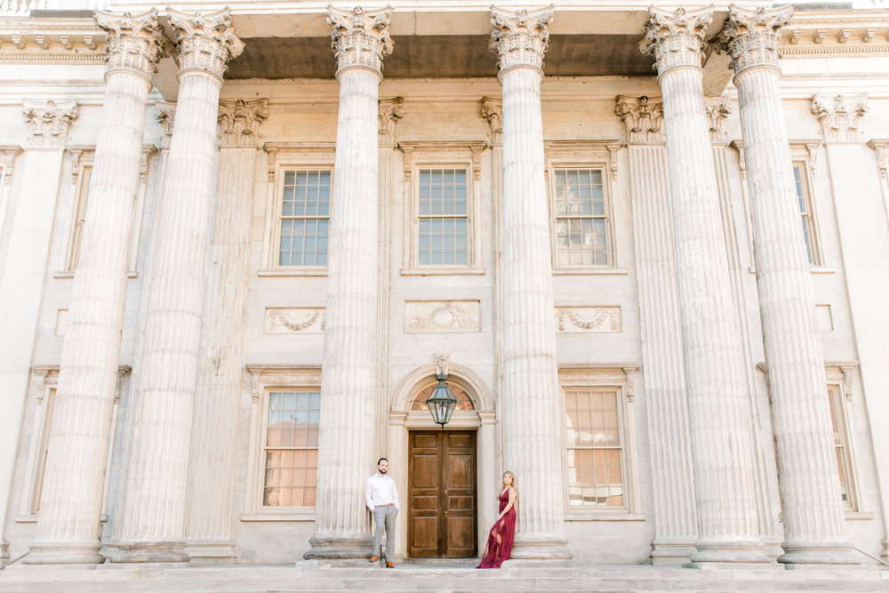 The classic architecture of Old City, Philadelphia makes for such a romantic and dramatic backdrop for a bright fall engagement session.