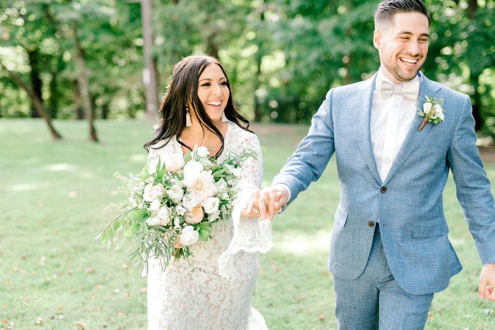We love the smiling faces of these two from their bright boho chic Tyler Gardens wedding in Bucks County.