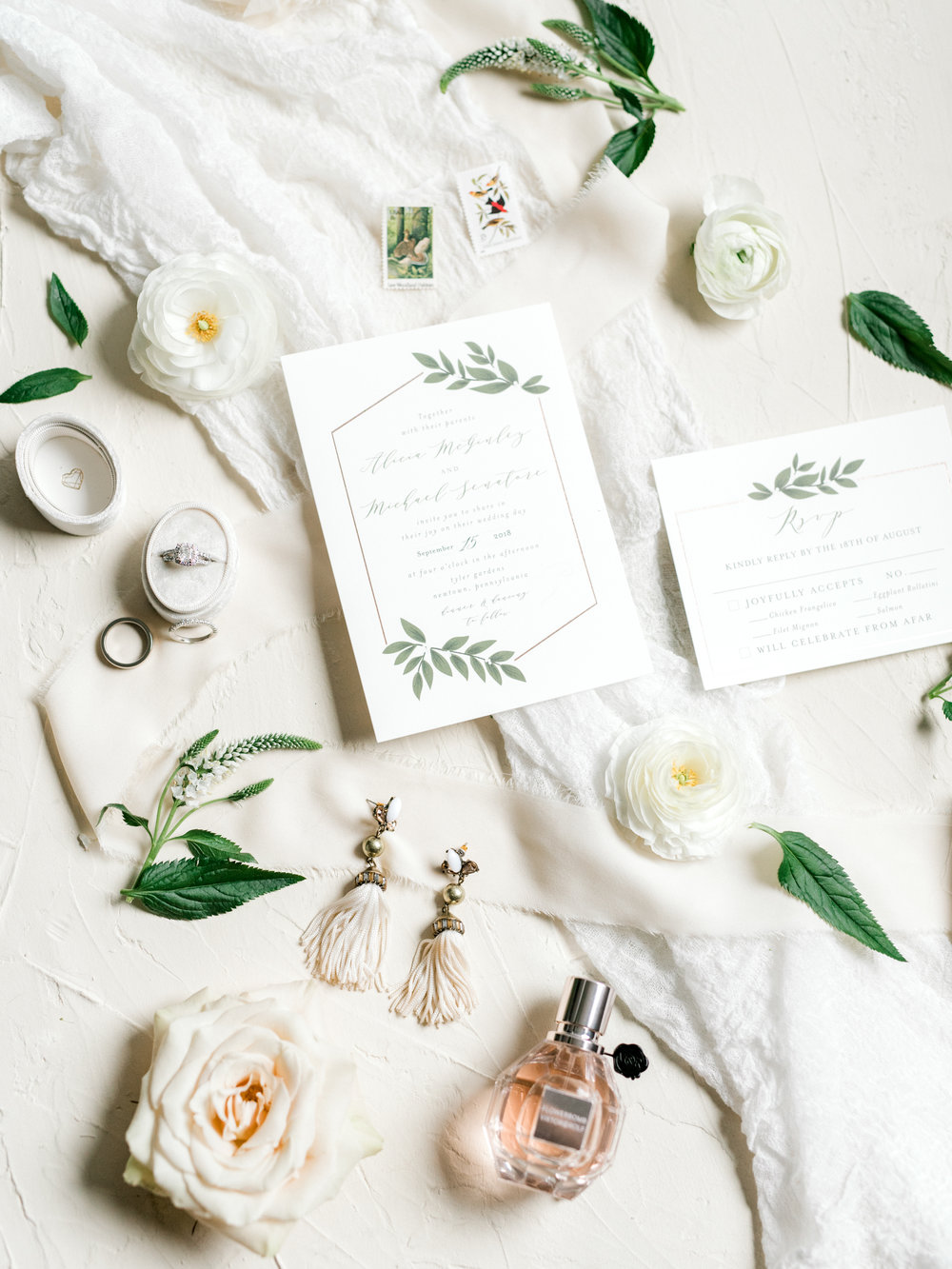 These simple and elegant details with white and green invitations made for the perfect accent to this bright boho chic Tyler Gardens wedding in Bucks County