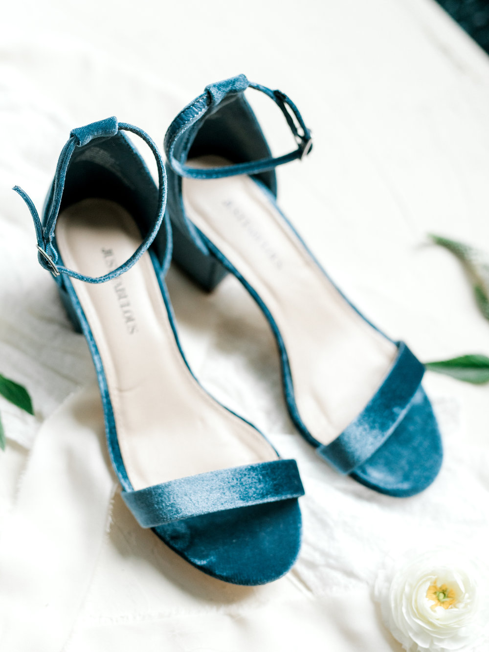 Velvet is in, and these elegant blue block heels from this bright boho chic Tyler Gardens wedding in Bucks County were everything