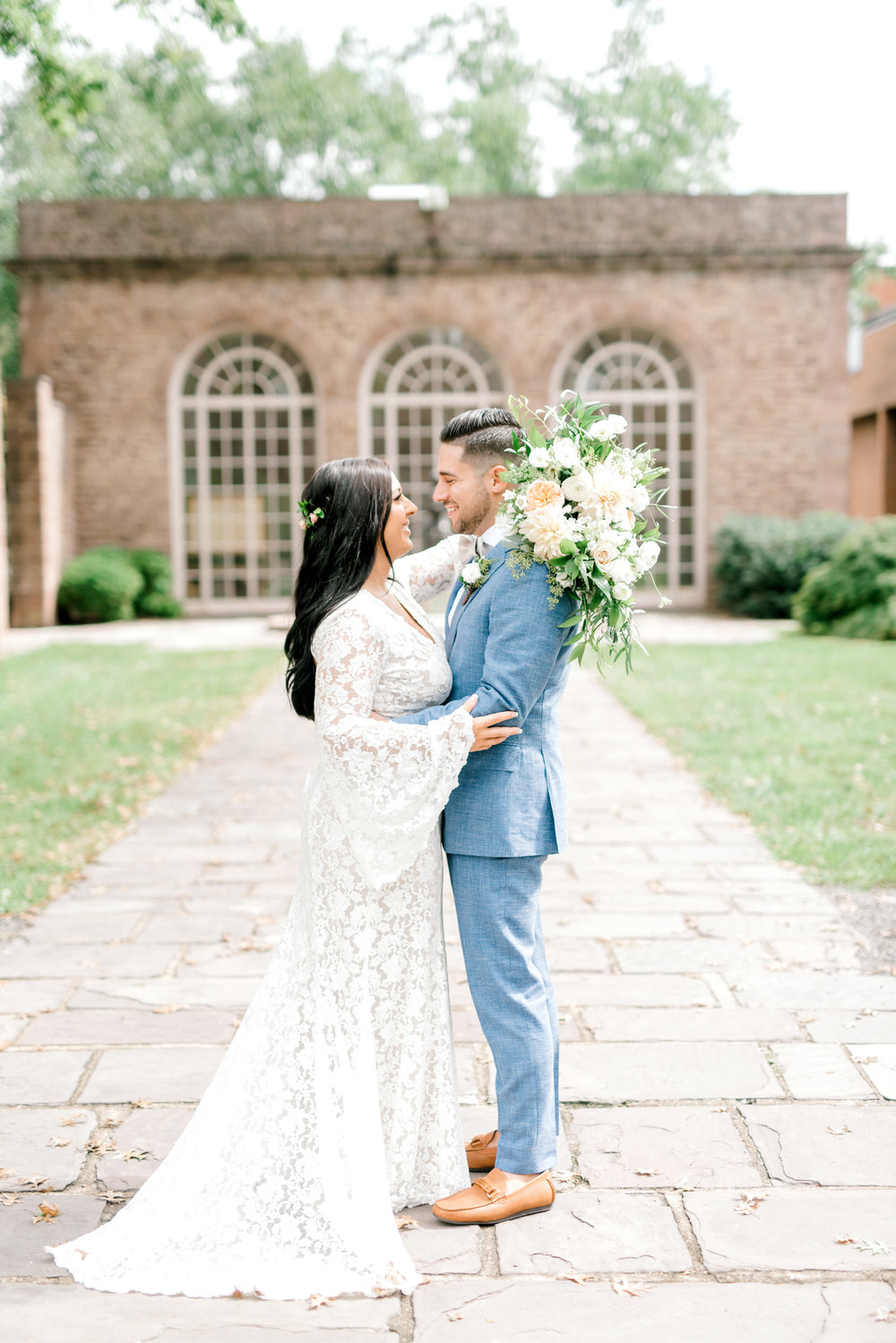 We loved the bright and classic feel of Alicia's lace BHLDN gown matched with Mike's light blue suit. Never has a bright boho chic Tyler Gardens wedding in Bucks County been so timeless.