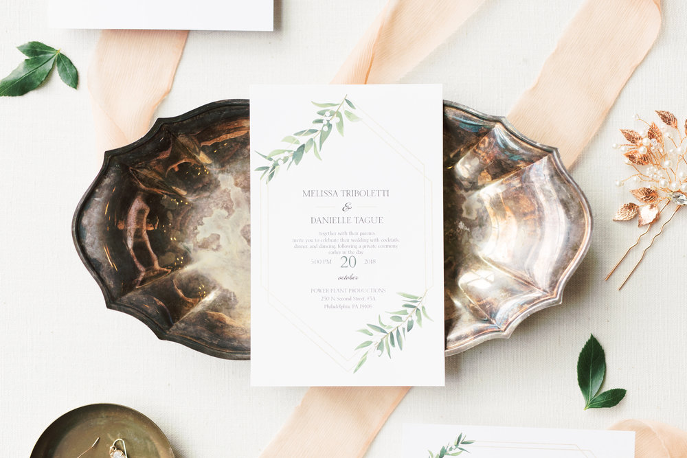 Missy and Dani's modern and simplistic invitation suite with leaf motif made for a classic yet fresh approach for their modern and elegant old city Philadelphia wedding at Power Plant Productions. Power Plant Production wedding photographer