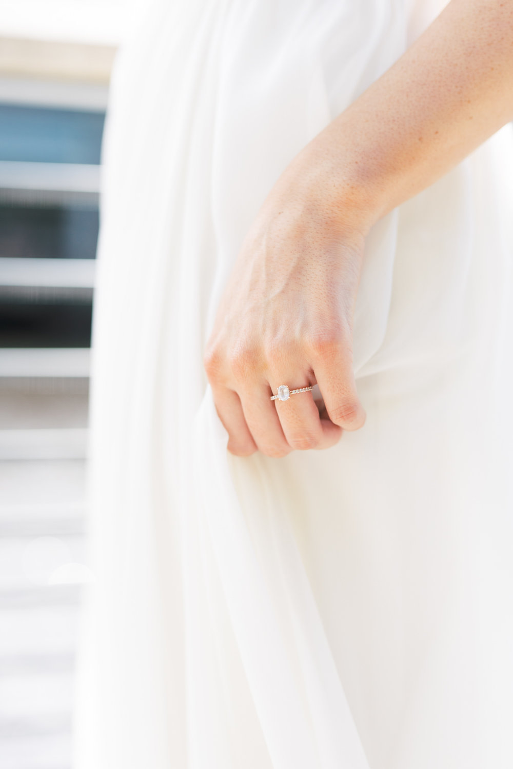 This modern white sapphire ring added a touch of elegance with a sustainable flair for this modern and elegant old city Philadelphia Power Plant Productions wedding. Power Plant Production wedding photographer