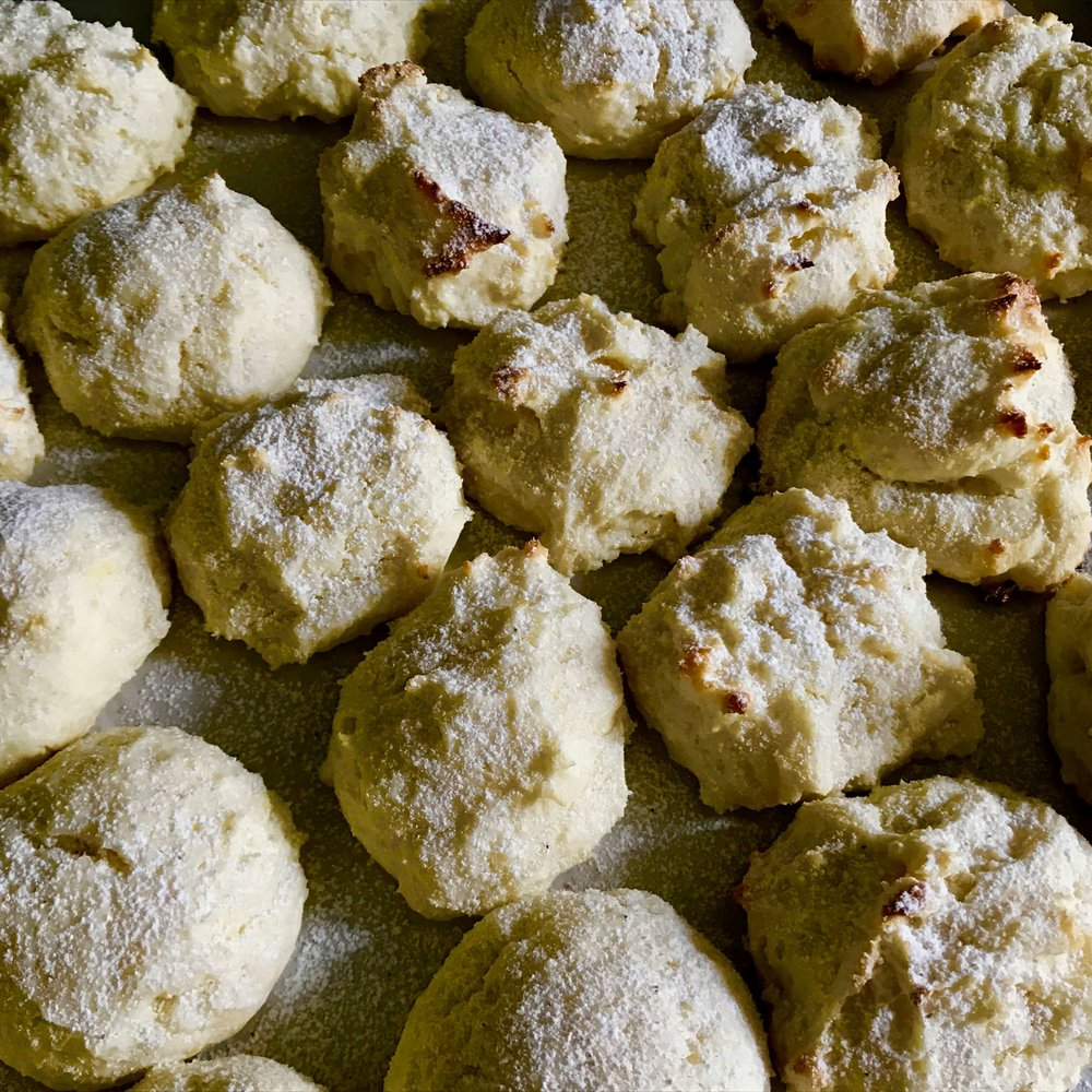 Lemon zest and cardamom are a wonderful pairing in these light, airy cake-like tea cookies made with mascarpone and ricotta cheeses.