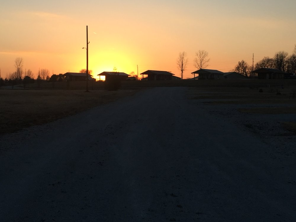Sunset over the cabins in February 2018