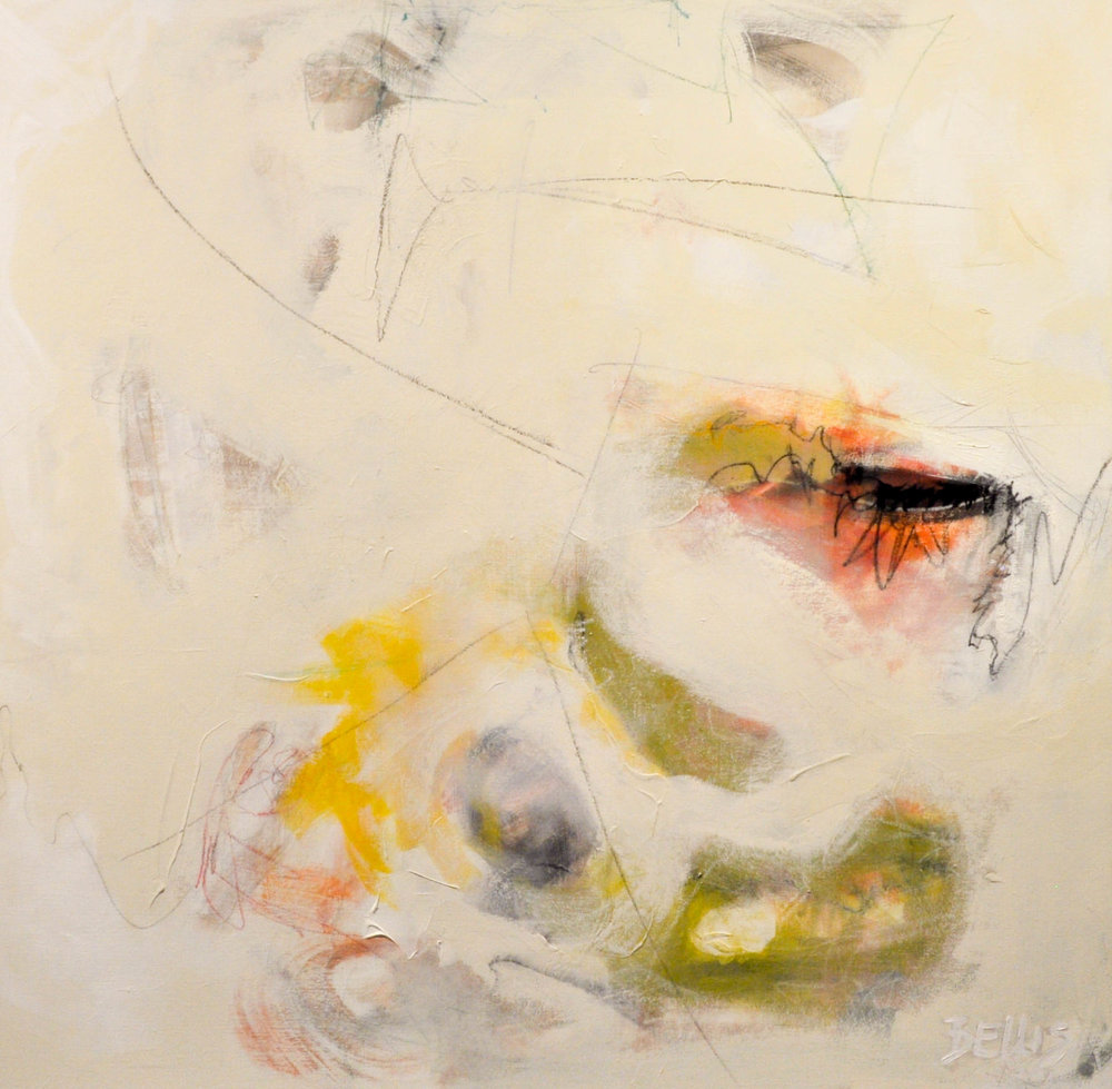 White Square2   Acrylic and art crayon on gallery wrap. 50 X 50 X 2