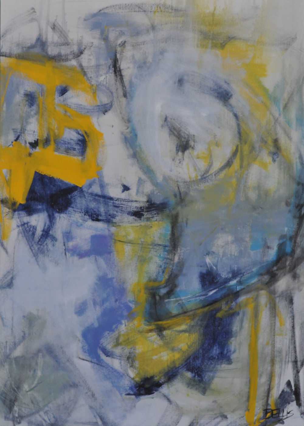 B-Eing  Acrylic and charcoal on gallery wrap.  53 X 38 X 2