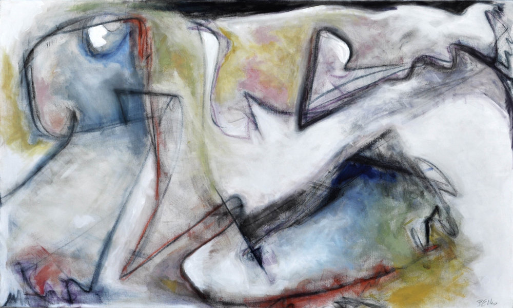 Conversation   Acrylic and pastels on gallery wrap. 42 X 70 X 1.5