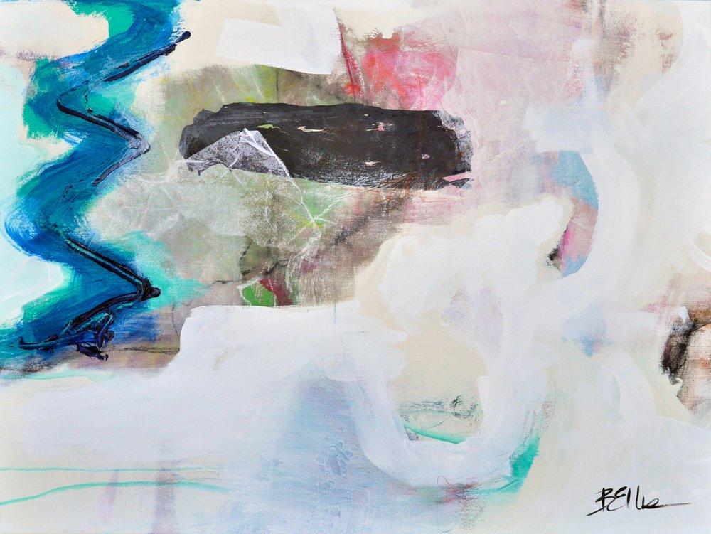 aqueous   Acrylic, art crayon and tissue on gallery wrap. 36 X 48 X 2.