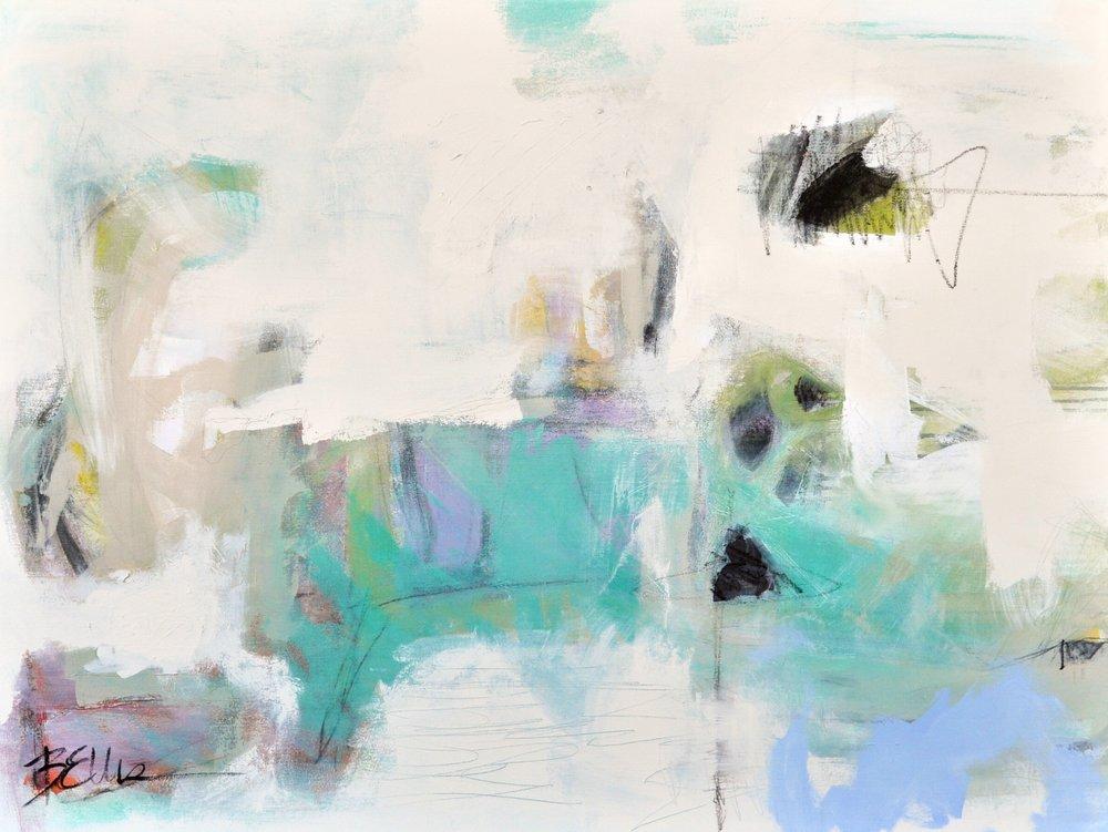strange form  Acrylic and art crayon on gallery wrap. 48 X 36 X 2