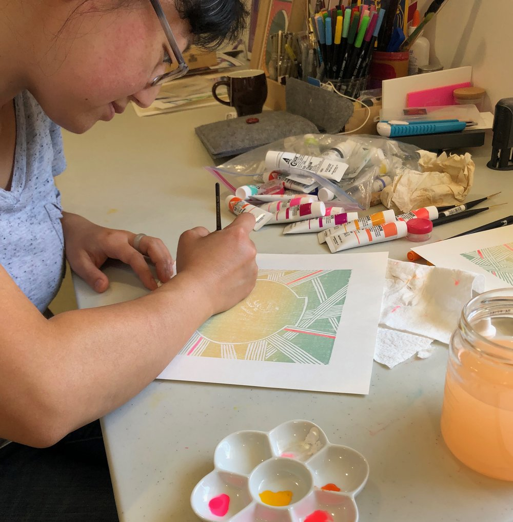 Rochelle Youk in the studio at Sunset Paperworks 2018