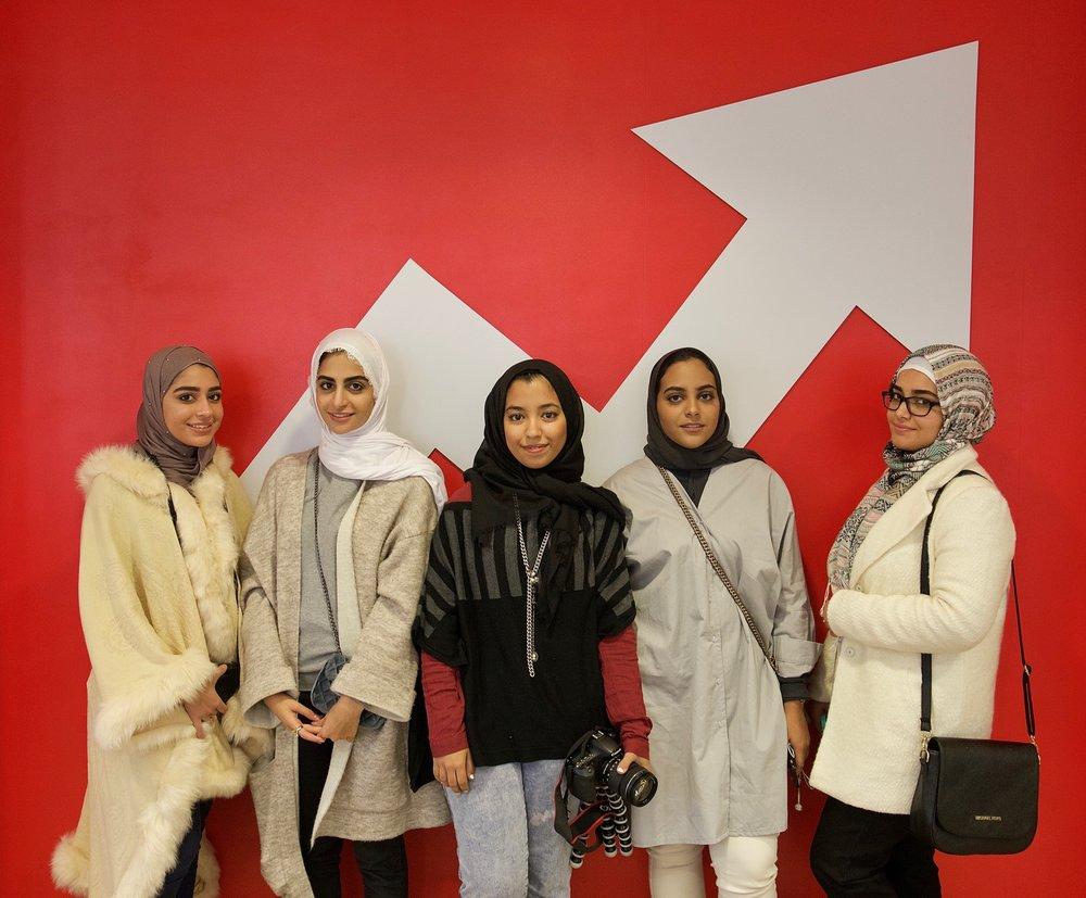L-R: Dana Al-Haddad, Hind Al-Naama, Raja Aderdor, Hasna Hamid, Ahd Mohamed