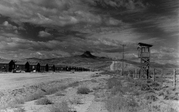 A Japanese internment camp guard tower at Heart Mountain (National Archives).