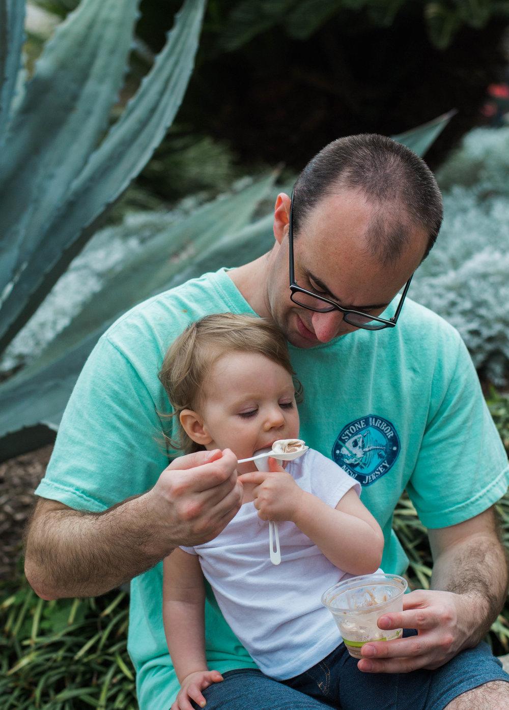 Sharing ice cream at the zoo!!