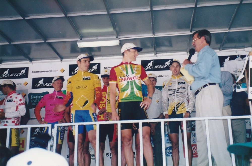 On the podium for the 1998 Commonwealth Bank Cycle Classic in Nowra, NSW, Australia