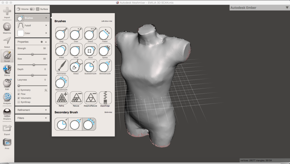 With the tool Brushes I smoothened the the mannequin mesh, making it nicer. I used  Flatten, BubbleSmooth, ShrinkSmooth