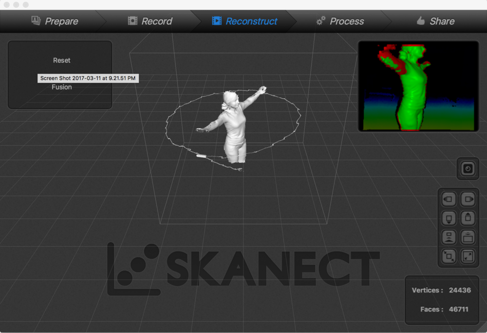 Interface of the Skanect after my body scan.