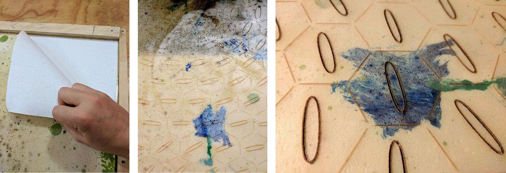From the left: 1. Bioplastic + Paper; 2. Bioplastic after the first laser cut, not cut; 3. Bioplastic after the second laser cut