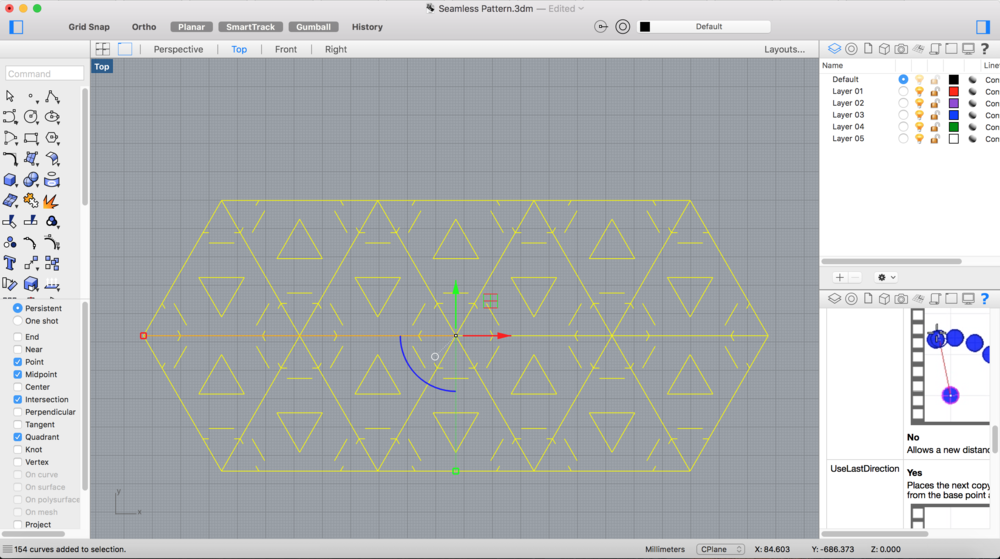 Now the triangular patterns have an arrow shaped hinge that is deeper and most importantly, it's drawn in 2D top view :)