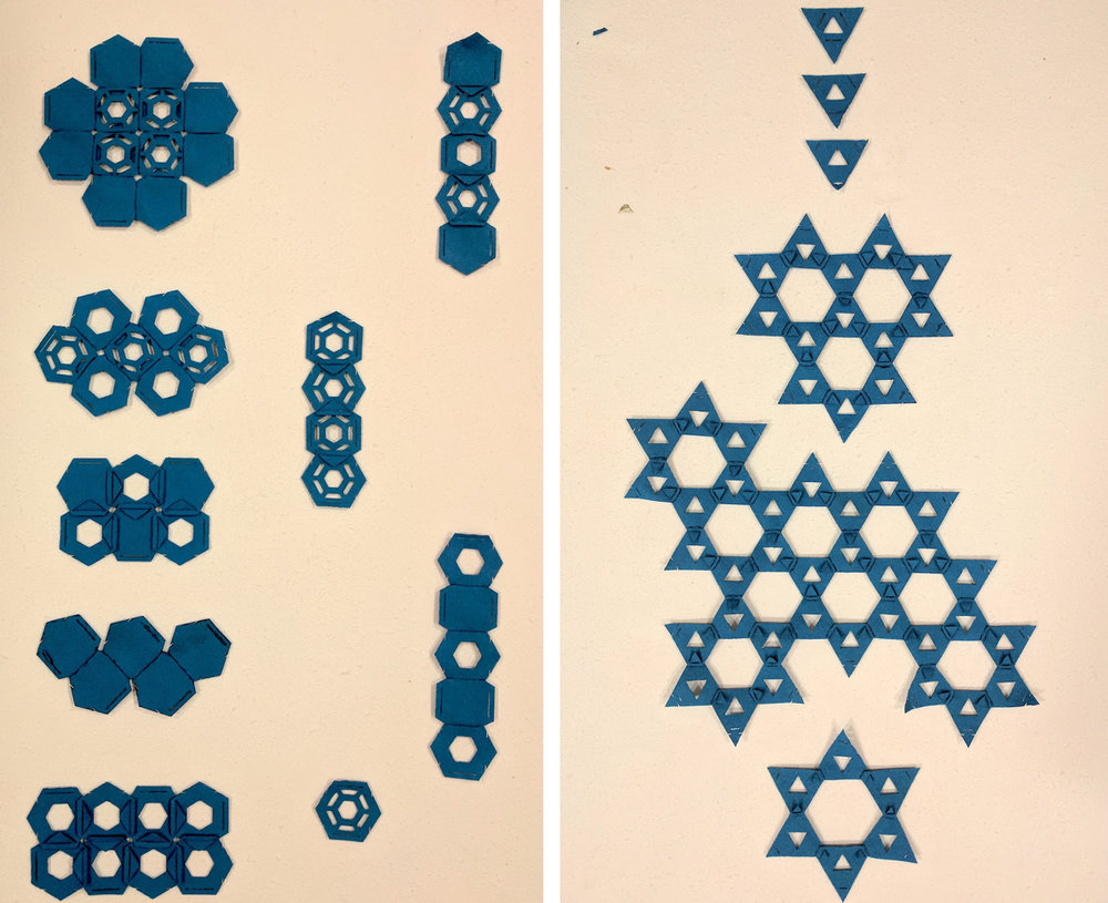 These are the concept boards for both the the hexagonal andtriangular patterns.