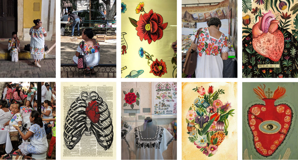 The photographs of the Yucatecan women are my own, which I took in Merida in 2017. The illustrations of the hearts all come from Pinterest and are collected in my board   Hearts.