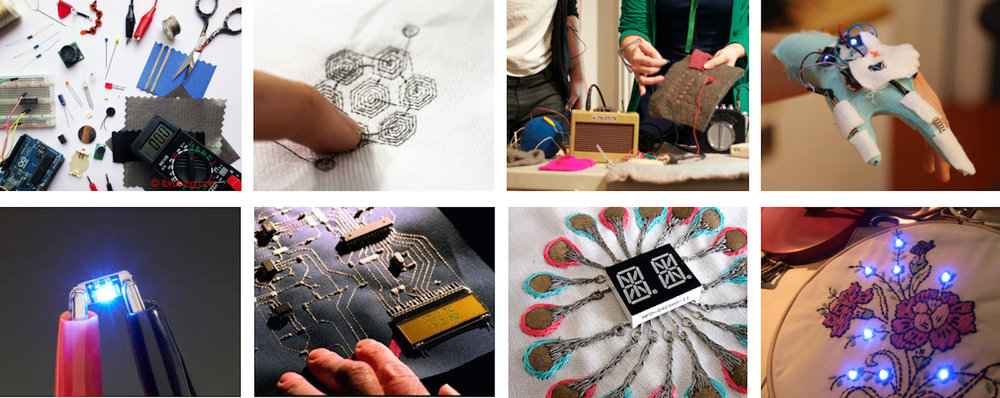 """The sources of these images is Google, with the search word """"making etextiles"""". The work of Kobakant, Lara Grant, Lynne Bruning and others is depicted in these pictures."""