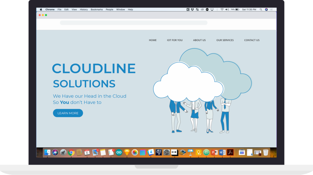 Landing page proposal with blue backbground