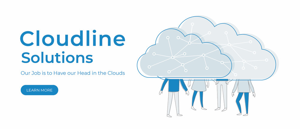 Trial for the Landing Page Illustration, with people under a cloud with interconnected network - white background